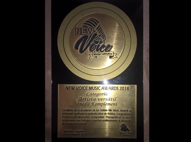 """¡Inedit Komplement es premiado en los """"New Voice Music Awards 2018""""!"""